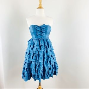🌈 New Betsy Johnson silk ruffle bows dress